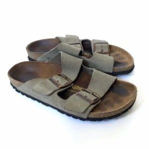 Birkenstock Arizona Suede Taupe Slides Sandals 37